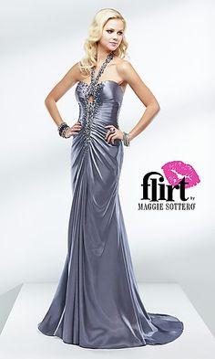 Flirt Formal Dress P4618 FL-P4618  www.dresseswd.com  Style: FL-P4618  Name: Flirt Formal Dress P4618  Details: Cut Out Back, Ruched, Sequin Embellished  Length: Floor  Neckline: Halter  Waistline: Natural