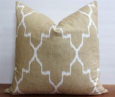 NEW Decorator Pillow Cover   Ikat  Caramel Tan by CarolinaPillowCo