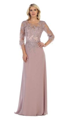 May Queen - MQ1637 Illusion Quarter Sleeve Appliqued Sheath Gown – Couture Candy Long Mothers Dress, Mother Of The Bride Dresses Long, Mother Of Bride Outfits, Mothers Dresses, Mob Dresses, Prom Dresses Online, Short Dresses, Sandro, Illusion