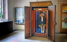 The auto icon of philosopher Jeremy Bentham at University College London (UCL). Notice how none of his preserved skin is visible, and that the head atop his shoulders is a wax replica. Jeremy Bentham, Mummified Body, Age Of Enlightenment, University College London, World Leaders, Thriller, Victorian, Technology, Digital