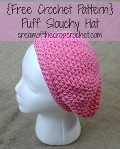 Puff slouchy hat free #crochet pattern by Cream of the Crop Crochet