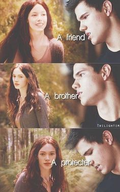 Jacob imprinted on renesmee and described as a friend, a brother and a protector. Kinda wish we could see what happened between them. Twilight Wolf Pack, Twilight Poster, Twilight Saga Quotes, Twilight Jokes, Twilight Saga Series, Twilight New Moon, Twilight Series, Twilight Movie, Twilight Jacob And Renesmee