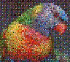 Colorgurumi. Perruche. Carrés au crochet. Granby squares.