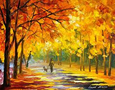 0792  Walking My Dog - Palette Knife Oil Painting On Canvas By Leonid Afremov Print by Leonid Afremov