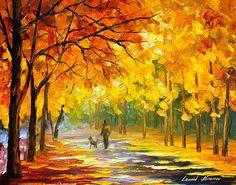 0792  Walking My Dog - Palette Knife Oil Painting On Canvas By Leonid Afremov Print by Leonid Afremov