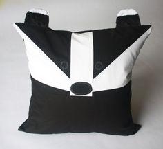 Badger Patchwork Pillow, Badger  Pillow, Badger  Baby Pillow, Harry Potter pillow--Hufflepuff--READY TO SHIP!!!