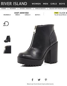 75e7d518540 River Island Black Zip Front Block Heel Ankle Boots in Black - Lyst