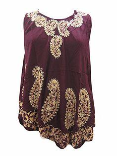 Womens Tank Dress Maroon Paisley Embroidered Sexy Summer Gypsy Blouse Tops #Mogul Interior @ http://www.amazon.com/dp/B00L228ZWK