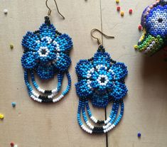 Huichol earrings, mexican earrings, flower earrings, beaded earrings, beaded flowers, hippie earrings, mexican flower, gift for her