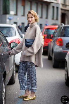 Milan Fashion Week FW 2015 Street Style: Sasha Luss