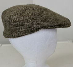 2fafd45e481 Lock Hatters Brooks Brother Cabbie Hat sz 7 Flat Cap Brown Wool Tweed  Duckbill  BrooksBrothers