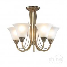 Boston 5 Light Semi-Flush. 5 light semi-flush chandelier in antique brass with white opaque glass shades  5 x 60w SES GB bulbs (Not Included)  Height: 335mm  Diam: 450mm £93.50