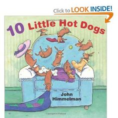 """One by one, more little hot dogs join the group until there are ten little hot dogs on the chair"""
