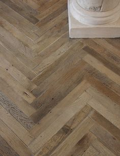 Antique French Oak Herringbone Wood Floor