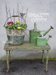 VINTAGE STYLE WATERING CAN FRESH FLOWER MARKET Garden Farmhouse Country Rustic