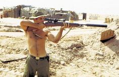 M14A1 Sniper Rifle with silencer, in Vietnam.
