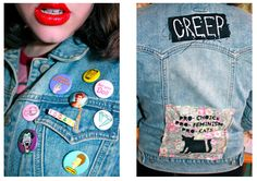Bailey #CREEP #pins Light Denim Jacket #Red lips