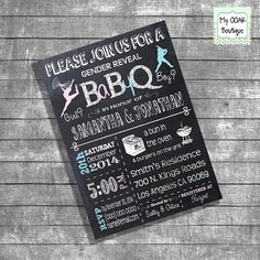 BBQ Gender Reveal invitation Baby Q gender by myooakboutique, $12.00