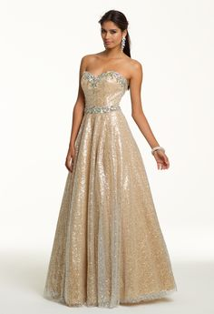 Prom Dresses 2013 - Sequin Strapless Long Dress with Beaded Band from Camille La Vie and Group USA