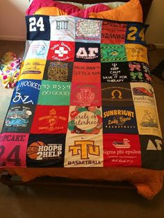 "T-Shirt Quilt Blanket Story Series from 'Project Repat.'  A mother who used PR says ""I was finding really high prices on the internet. I came across projectrepat.com & was thrilled at the low cost of their quilts. I was a bit concerned that I may be sacrificing quality for price, but the reviews were good so I gave it a try. I'm so glad I did! The process was easy & they provided fantastic customer service. We've had many compliments on this amazing quilt. Ask about the referral plan!"