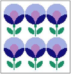 Round retro lavander and blue flowers. Modern cross stitch chart. Contemporary pattern.