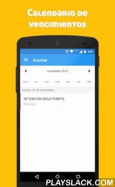 Acontar (Asistente Tributario)  Android App - playslack.com ,  La aplicación para el contador que está a la vanguardia y hace de la tecnología un aliado.Acontar (Asistente Tributario) organiza las fechas de pago de los impuestos y alerta los vencimientos desde 3 días antes de los mismos. Esto siempre basándose en el Calendario Tributario Colombiano.Nunca se te olvidará declarar un impuesto ante la DIAN (Dirección de Impuestos y Aduanas Nacionales)¡Ya estamos alistando el Calendario…