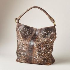 "DEBORAH STUDDED HOBO BAG - A constellation of scattered, muted studs gives this distressed leather tote bag by Frye® a beat back elegance of timeless appeal. Imported. Approx. 11-1/2""W x 4-3/4""D x 13-1/2""H."