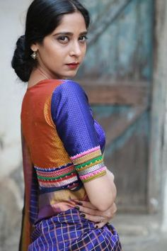 Shades of Blue Yellow Khun Mogra Blouses Stylish Blouse Design, New Blouse Designs, Saree Blouse Designs, Kurta Neck Design, Designer Blouse Patterns, Work Blouse, Saris, Indian Beauty, Blue Yellow