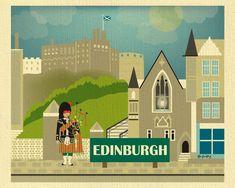 Poster, Print, Greeting Card illustration EDINBURGH KAREN YOUNG