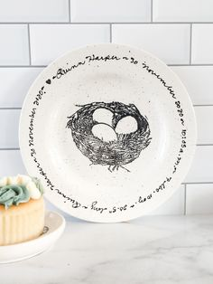 Celebrating the arrival of a sweet new baby? Record their stats on this kiln-fired ceramic baby birth plate. A heirloom quality gift a new mom is sure to love. #museware #newbaby #newborn #birthplate #birthstats #babyshower #newmom #nest #handpainted Newborn Baby Gifts, Baby Girl Gifts, Baby Records, Pottery Gifts, Hand Painted Pottery, Wedding Vases, Unique Baby Gifts, New Baby Girls, Baby Birth