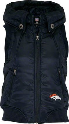 Denver Broncos Women's Full-Zip Polyfill Satin Hooded Vest image