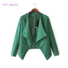 2015 nuevas mujeres de moda de cuello de solapa grande Faux Suede Leather Jacket manga larga 2 falsos bolsillos con cremallera capa del cortocircuito de abrigo