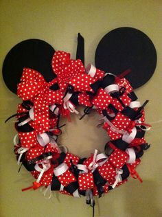 Minnie Mouse wreath by StephaniBe on Etsy, $50.00