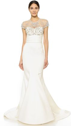 Marchesa Fishtail Satin Gown with Bejeweled Top at shopbop.com #affiliatelink