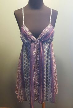 Kimchi & Blue UO Poly Nylon Lavender Floral Halter Short Sheer Teddy Sleep Top S #KimchiBlue $12