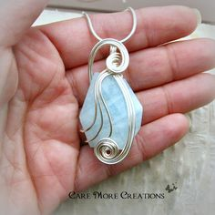 Aquamarine Wire Wrapped Pendant Necklace in Silver by CareMore