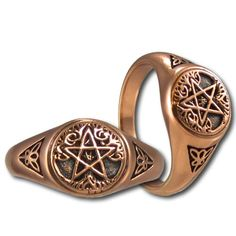 Jewelry Pagan Wicca Witch:  Copper Tree Pentacle Ring.