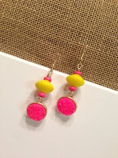 neon dangle earrings bright pink earrings by piddlygirldesigns Pink Earrings, Dangle Earrings, Bright Pink, Wedding Jewelry, Dangles, Neon, Jewellery, Trending Outfits, Unique Jewelry