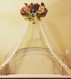 Floral lace crib canopy! #nursery #floral #canopy #lace #halo #shabbychic #vintage #rose