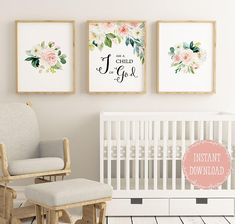 I Am A Child Of God, Bible Verse printable, Christian wall art, Set of 3, John 1:17, Floral Nursery, Baby girl nursery, Bible verse wall art, Floral Nursery, Scripture Printable, Christian Gifts, christian wall decor, Christian nursery, Bible quote print