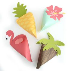 Tropical .svg cut files to create cupcake wrappers, party favors and more for luaus and other parties.