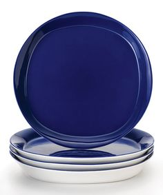 This Blue Dinner Plate - Set of Four is perfect! #zulilyfinds