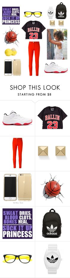 """""""Basketball Girl"""" by inspiration-center ❤ liked on Polyvore featuring Retrò, Versace, Palm Beach Jewelry, adidas Originals, adidas and Eos"""