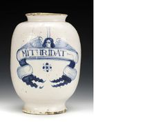 A large London delftware pharmacy jar, circa 1675-90