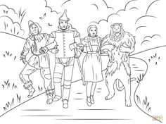 Cartoon Characters Coloring Prissy Design Wizard Of Oz Pages Free For Kids Printable Munchkins