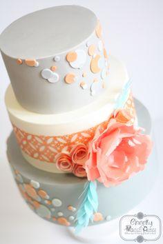 Peach and Grey Polkadot Wedding Cake with Wafer Paper Flowers Wafer Paper Flowers, Wafer Paper Cake, Polka Dot Wedding, Up Music, Wedding Fair, London Wedding, Alternative Wedding, Cake Decorating, Wedding Cakes