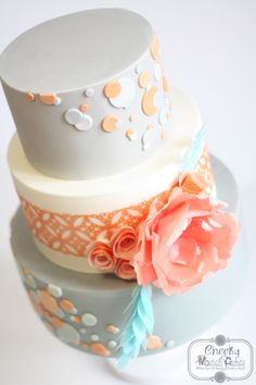 Peach and Grey Polkadot Wedding Cake with Wafer Paper Flowers