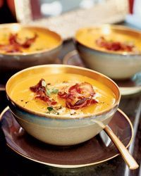 Butternut Squash Soup with Crisp Pancetta Recipe - Tom Valenti | Food & Wine