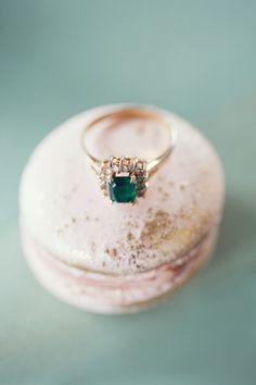 green diamond rose gold ring