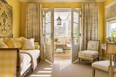 Scandi Style Meets Sunny Yellow in This California Cottage - Romantic Homes French Daybed, Gazebos, Yellow Interior, French Cottage, Cottage Pie, Cottage Living, Cottage Homes, Classic Interior, French Interior